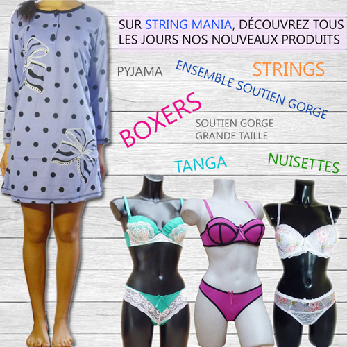 StringMania, grossiste lingerie, sous-vetements, bas, collants, leggins, pyjama, etc.